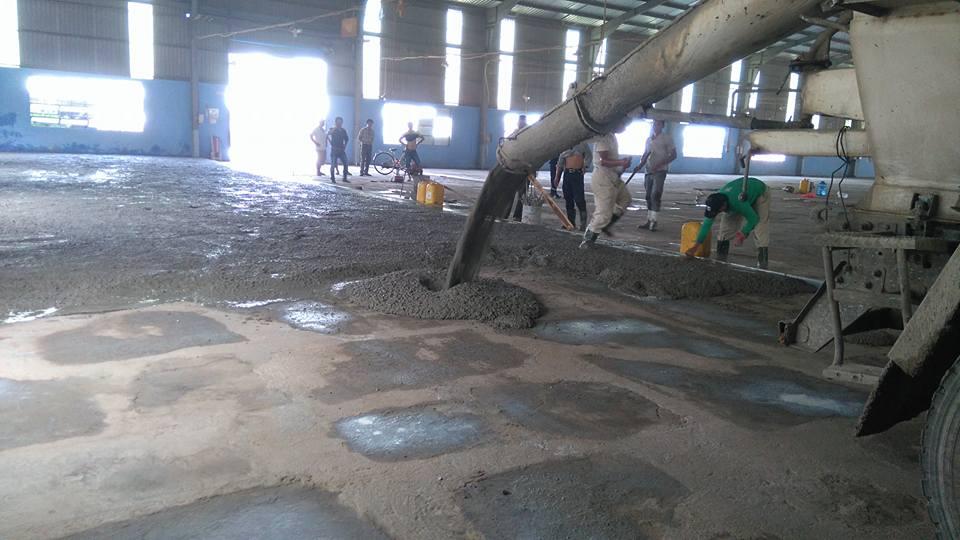 Thi công đổ bê tông nền nhà máy